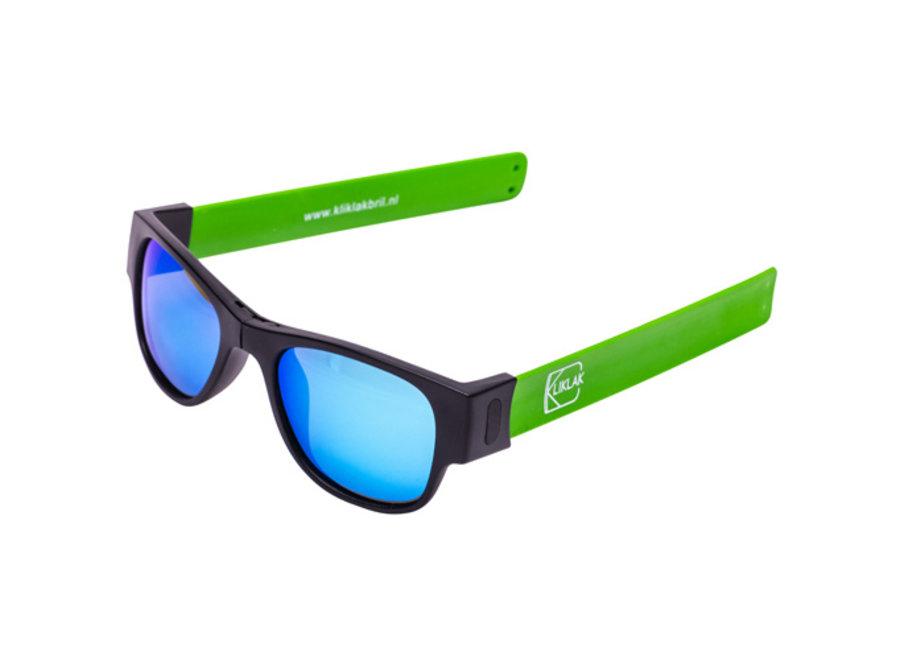 Kliklak Zonnebril zwart/groen - blauw polarised KLK002