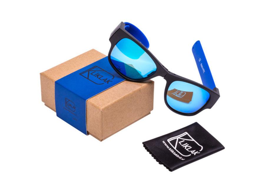 Kliklak Zonnebril zwart/blauw - blauw polarised KLK001
