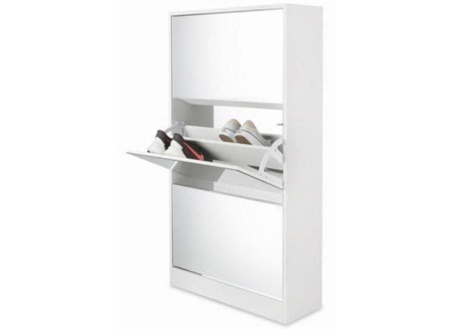 Schoenenkast met Spiegel 3-laags - wit Lifa Living