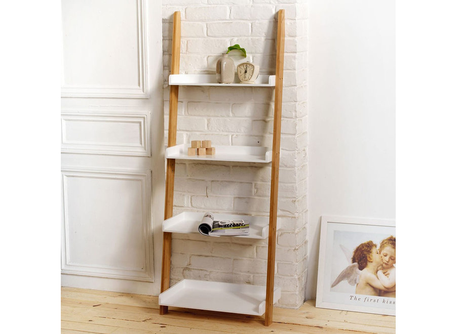 Bamboo Ladder 4-laags wit/bamboe 11163 Casame