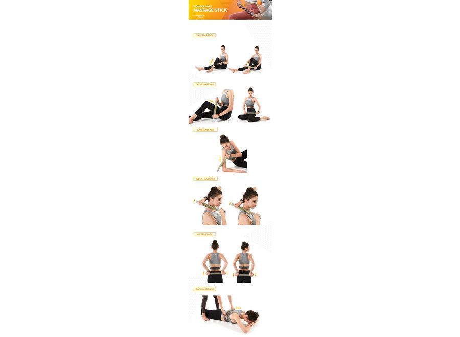 Massage Stick grijs/geel WOC062 Wonder Core