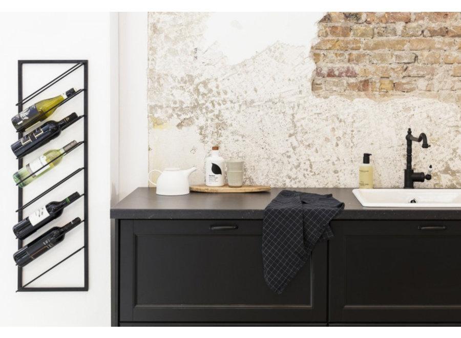 Design Wijnrek - zwart metaal - 8 flessen Lifa Living