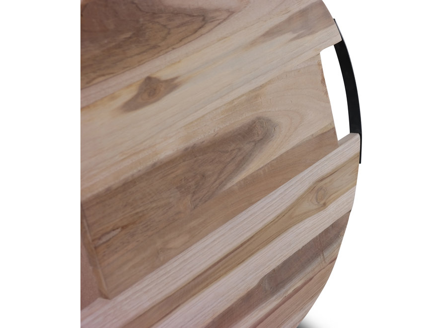 Tapasplank Teak 40 cm + stalen handvatten Willow