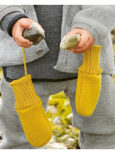 Disana Mittens Boiled Wool - Curry
