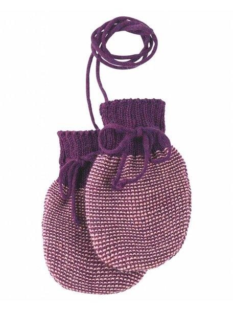 Disana Baby Mittens Organic Merino Wool - Plum
