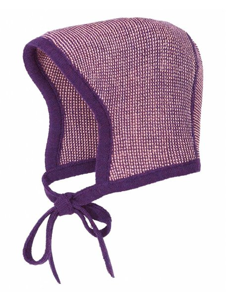 Disana Baby Bonnet Merino Wool - Plum