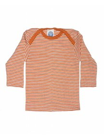 Cosilana Baby Shirt Wool / Silk Striped - orange