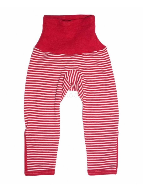 Cosilana Baby Pants With Scratch Protection Striped Wool/Silk - Red