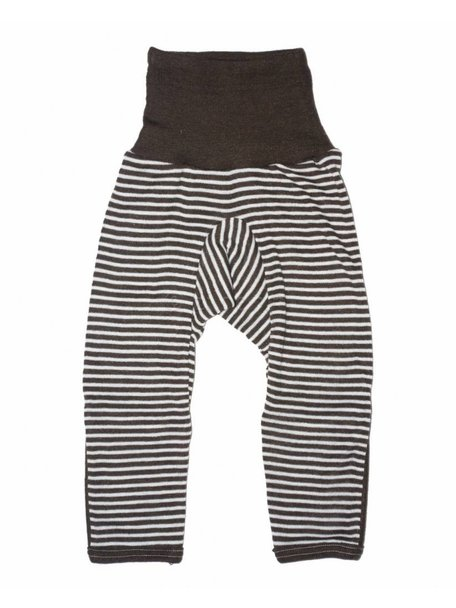 Cosilana Baby Pants With Scratch Protection Striped Wool/Silk - Brown