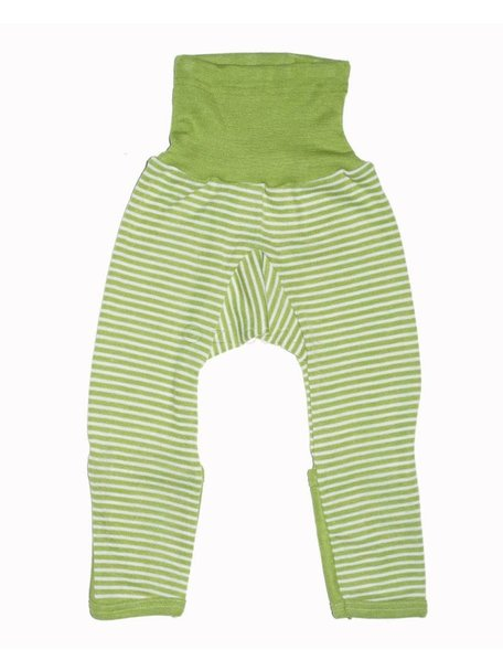 Cosilana Baby Pants With Scratch Protection Striped Wool/Silk - Green