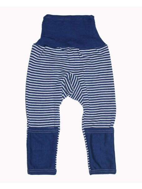 Cosilana Baby Pants With Scratch Protection Striped Wool/Silk - Blue