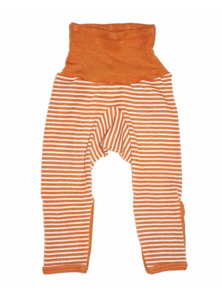 Cosilana Baby Pants With Scratch Protection Striped Wool/Silk - Orange
