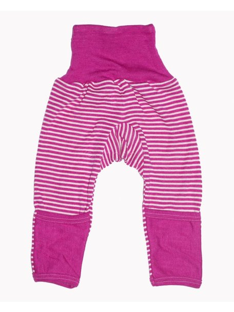 Cosilana Baby Pants With Scratch Protection Striped Wool/Silk - Pink