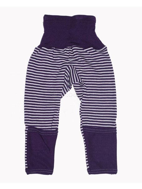 Cosilana Baby Pants With Scratch Protection Striped Wool/Silk - Purple