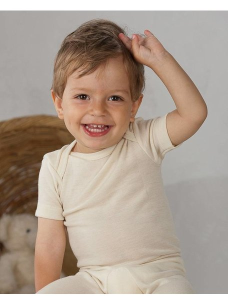Cosilana Short Sleeve Baby Body Wool/Silk - Natural