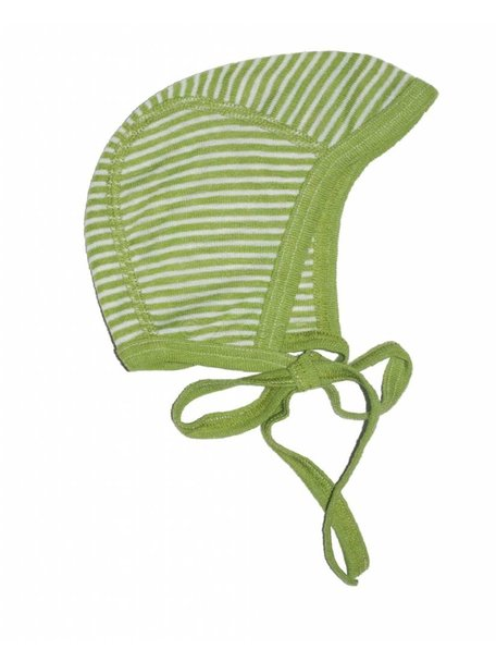Cosilana Baby Bonnet Striped Wool/Silk - Green