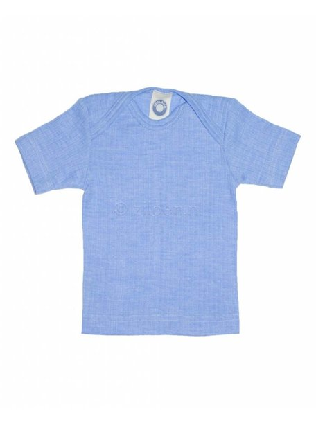 Cosilana Baby Top Short Sleeves Wool/Silk/Cotton - Blue
