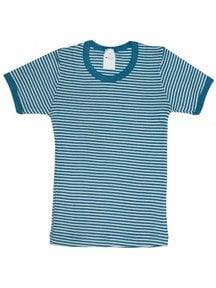 Hocosa Kids T-Shirt Wool/Silk - Striped Blue/Natural