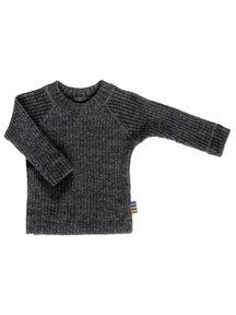 Joha Heavy Rib Blouse wool - Dark grey melange