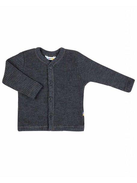 Joha Heavy Rib Cardigan wool - Dark grey melange