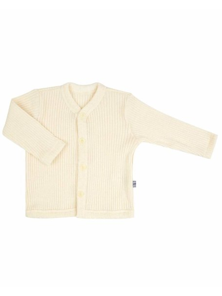 Joha Heavy Rib Cardigan wool - Natural