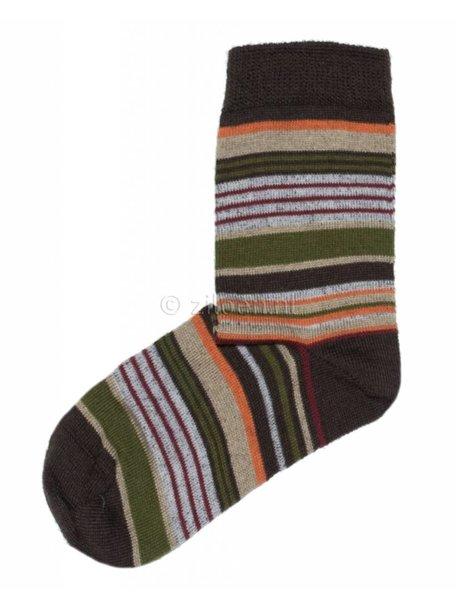 Grödo Kids Socks Wool/Cotton - Brown Striped