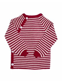 Reiff Cardigan Organic Wool - red/natural