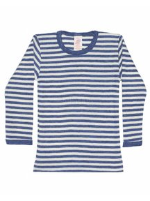 Engel Natur Longsleeve Striped Vest Wool - Blue