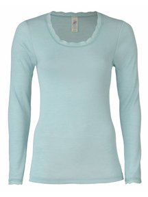 Engel Natur Longsleeve Shirt Women With Lace - Glacier