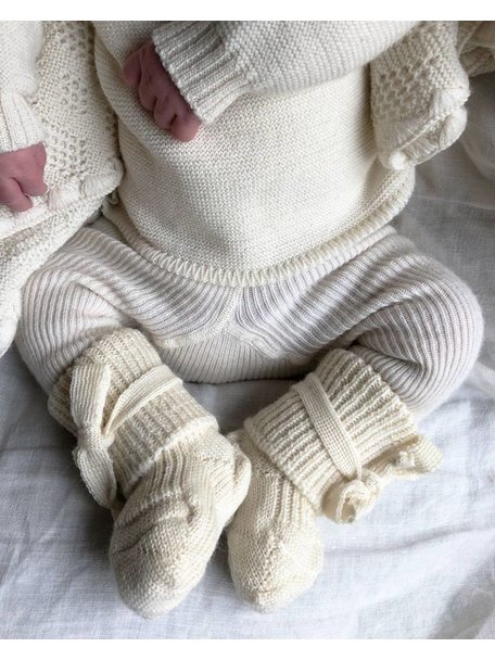 Hirsch Natur Newborn Socks Wool - Natural
