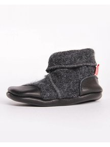 Cami Woolen Booties Leather Sole - anthracite