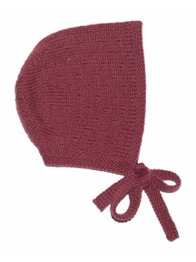 Soof Bonnet With Little Dots - burgundy