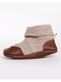 Cami Woolen Booties Leather Sole - beige