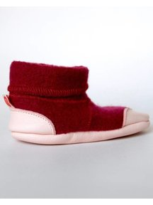 Cami Woolen Booties Leather Sole - burgundy