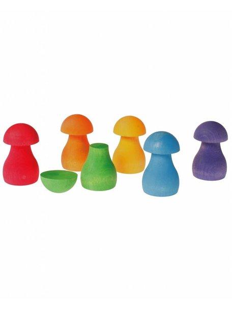 Grimm's Wooden Rainbow Mushrooms