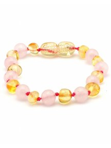 Amber Amber Baby Bracelet with Gemstones 14 cm - Rose Quartz/Lemon