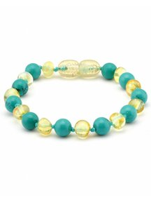 Amber Amber Baby Bracelet with Gemstones 14 cm - Turquoise/Lemon