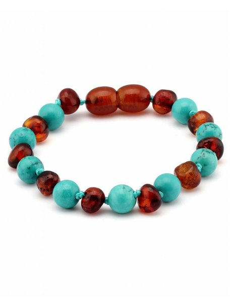 Amber Amber Baby Bracelet with Gemstones 14 cm - Turquoise/Cognac