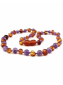 Amber Amber Baby Necklace with Gemstones 32 cm - Amethist/Cognac