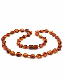 Amber Amber Ladies Necklace 45 cm - Cognac Oval
