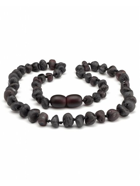 Amber Amber Kids Necklace 38 cm - Cherry/Black Raw