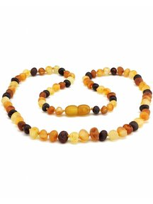 Amber Amber Ladies Necklace Extra Long 64 cm - Multi Colour Raw