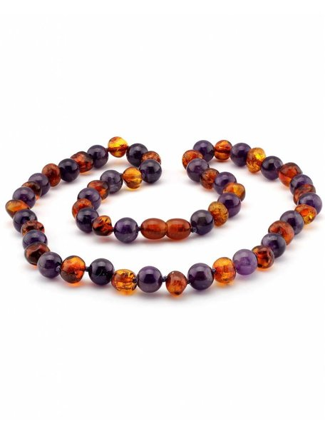 Amber Amber Ladies Necklace with Gemstones 45 cm - Amethist/Cognac