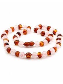 Amber Amber Ladies Necklace with gemstones 45cm - Rose Quartz/cognac