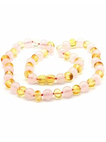 Amber Amber Ladies Necklace with Gemstones 45 cm - Rose Quartz/Lemon