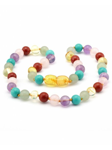 Amber Baby Necklace with Gemstones 32 cm - Multi Colour