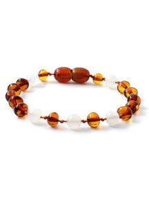 Amber Amber Baby Bracelet with Gemstones 14 cm - Moonstone/Cognac