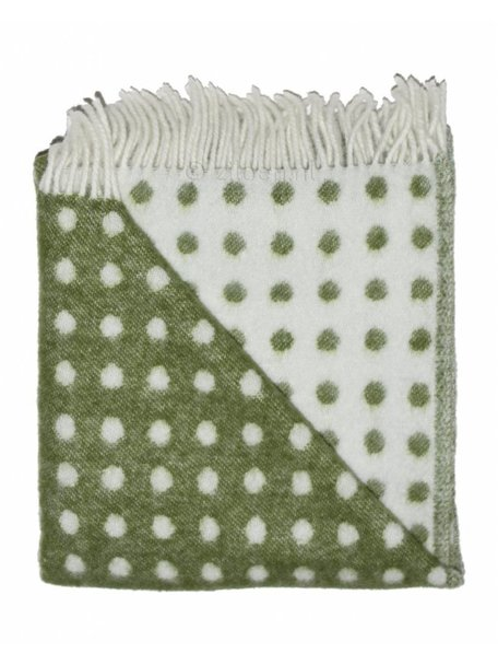 Mara Woolen Blanket With Dots 100 x 140 cm - Green