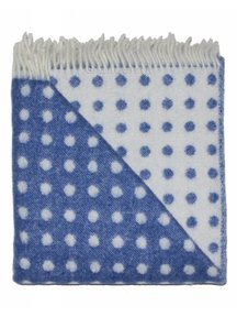 Mara Woolen Blanket With Dots 100 x 140 cm - Blue