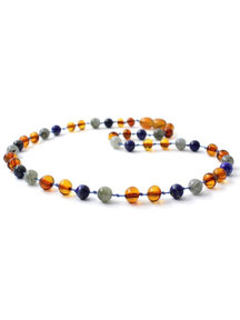Amber Amber Baby Necklace with gemstones 32cm - labradorite/lapis lazuli/cognac